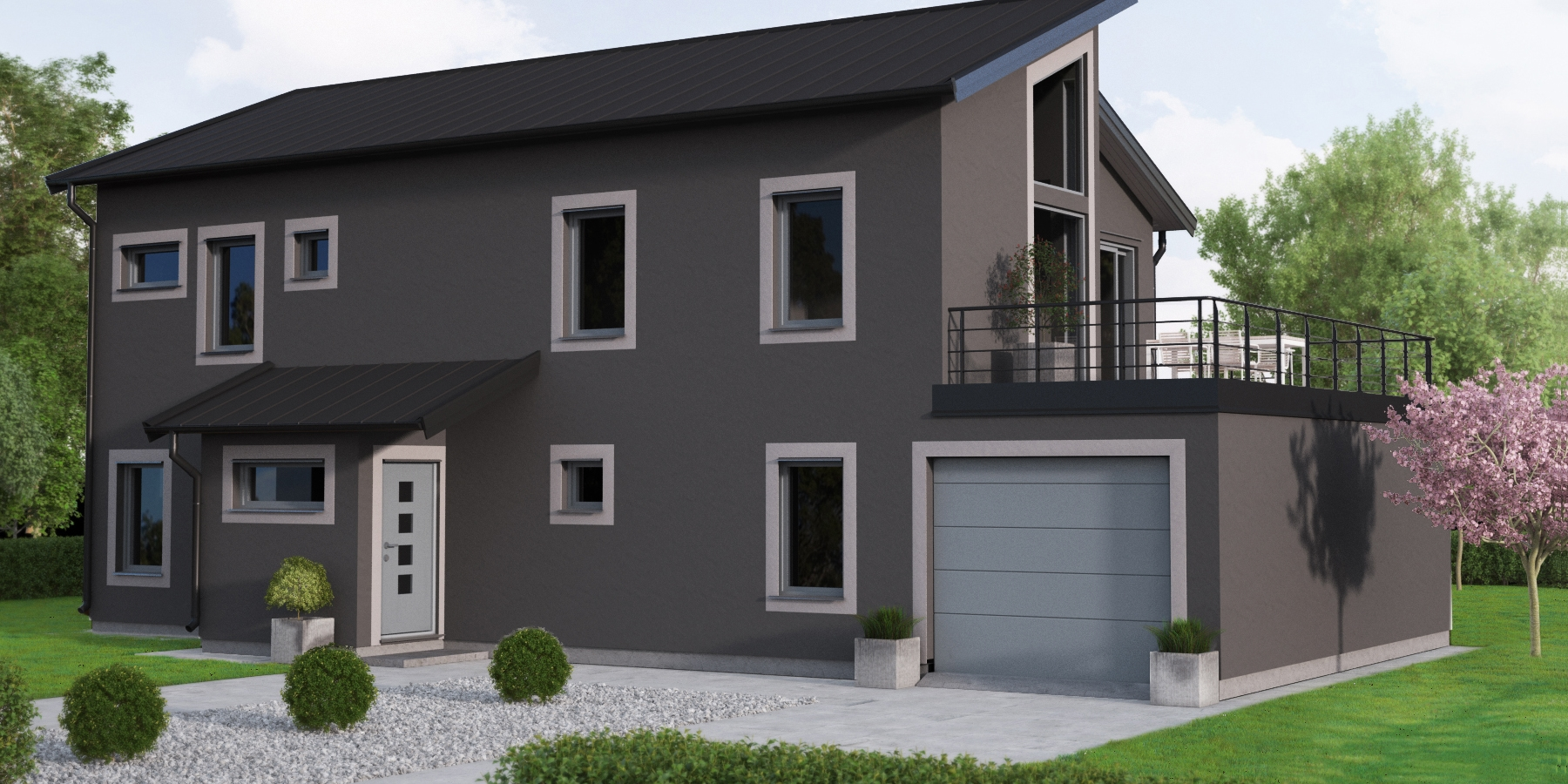 Inspiration för målning av svart eller grått hus - Caparol Färg